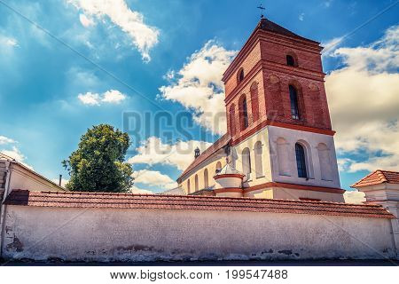 Belarus: Catholic Church of St. Nicolas in  Mir in the summer