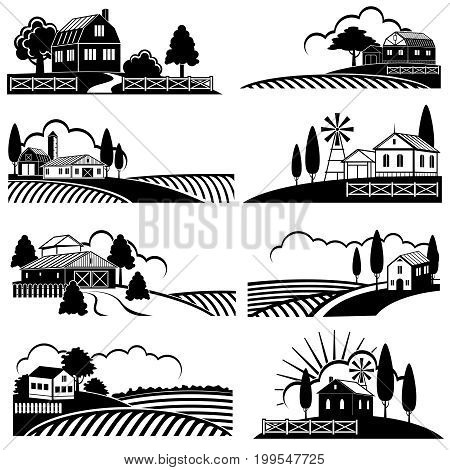 Vintage countryside landscape with farm scene. Vector backgrounds in woodcut style. Landscape vintage farm, countryside scene illustration