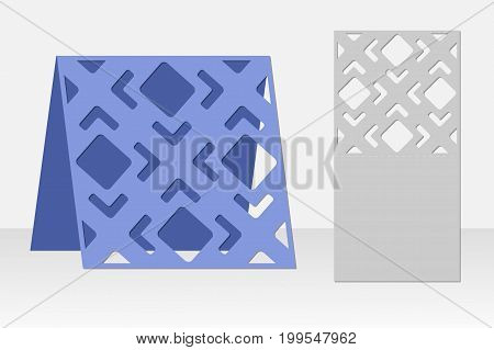 Greeting card laser cutting. Silhouette design. Pattern. It is possible to use for invitations, presentations, greetings,  birthday, holidays, celebrations, weddings, save the date. Vector illustration.
