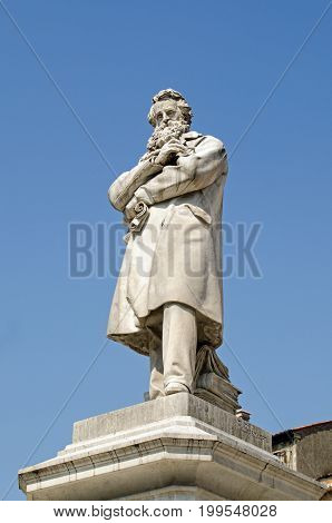 Statue of the great Italian linguist and lexicographer Nicolo Tommaseo erected in the historic Campo Santo Stefano in Venice Italy.