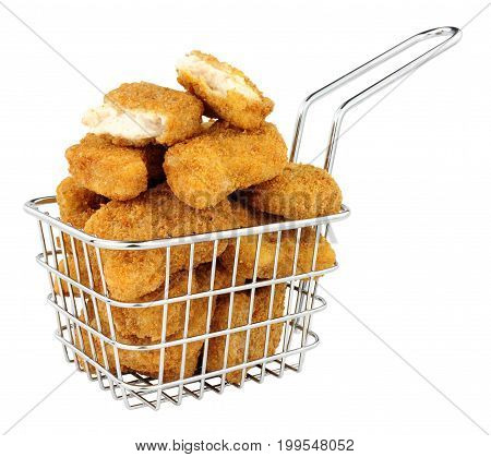 Breadcrumb covered chicken nuggets in a small wire frying basket isolated on a white background
