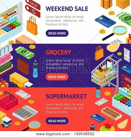 E-commerce Banner Horizontal Set Mobile Shopping Technology and Delivery Service Isometric View. Vector illustration