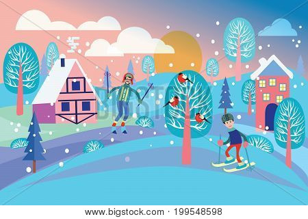 Beautiful winter landscape with winter landscape holidays concept. Flat vector illustration of people skiing. Men rides on skis Illustration in flat design style.