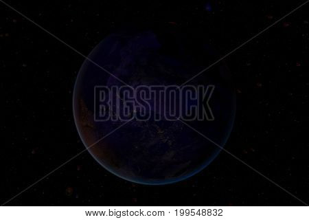 City Lights On World Map. Elements Of This Image Are Furnished By Nasa