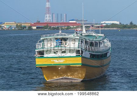 Labuan,Malaysia-July 20,2017:View of kumpit boat from the Philippines in Labuan free port,Malaysia.Its a trading vessel of the Philippine Islands.