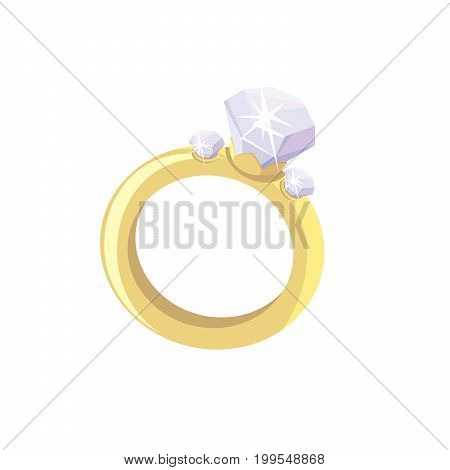 ring with a diamond. Colored vector illustration on white background
