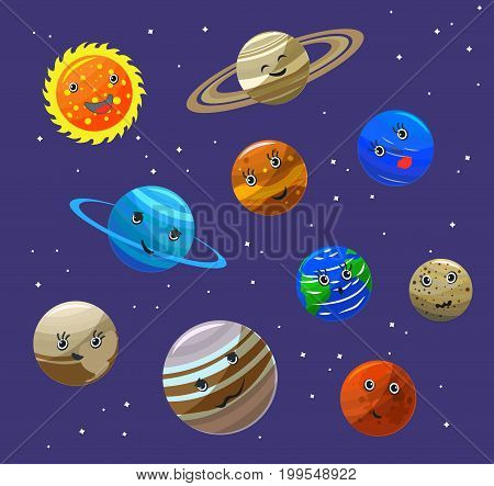 Solar System Planets and Sun Characters Set Funny Flat Design Style. Vector illustration