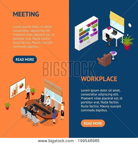Business Training or Coaching Banner Vecrtical Set Isometric View Corporate Professional Education Concept. Vector illustration