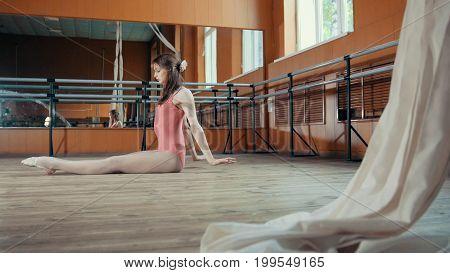 Beautiful flexible girl warming up at the ballet bar, circus artist