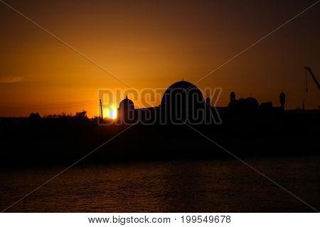 Sunset over Muhammad Imam Iyshan meshiti mosque at NukusKarakalpakstanUzbekistan