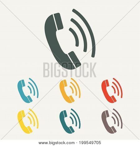 Phone icon. Call symbol in flat style. Colorful vector illustration.