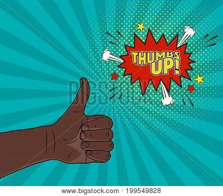 Afro-American man hand thumbs up sign, comic pop art illustration. Vector cartoon background, speech bubble, burst, star halftone graphic design elements.