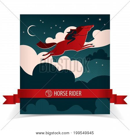 Wild horse poster with red ribbon flying red horse and black horseman vector illustration