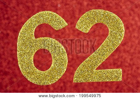 Number sixty-two golden color over a red background. Anniversary. Horizontal