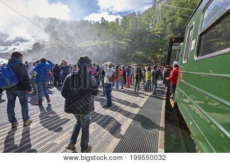 Flam train. Kjosfossen waterfall. Norwegian tourism highlight. Norway