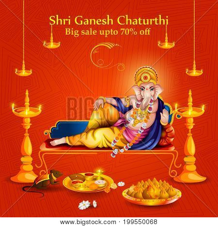 easy to edit vector illustration of Lord Ganpati on Ganesh Chaturthi sale promotion advertisement background