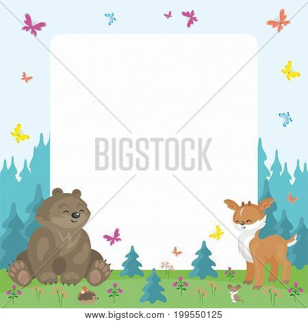 Baby colorful background with the image of a cute woodland animals. Vector illustration.