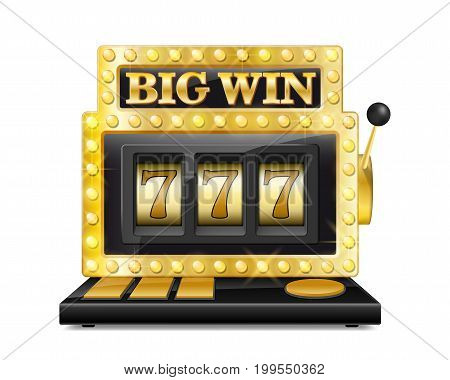 Golden slot machine wins the jackpot. lucky seven in gambling game Isolated on white background. Casino big win slot machine vector illustration EPS 10