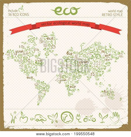 Eco design concept with ecological line icons set in world map shape with recycling wind turbine electromobile butterfly signs vector illustration