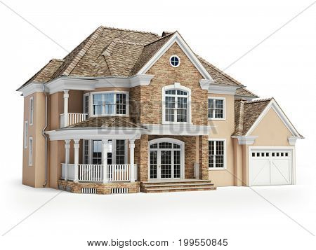 House isolated on white. Real estate concept. 3d illustration