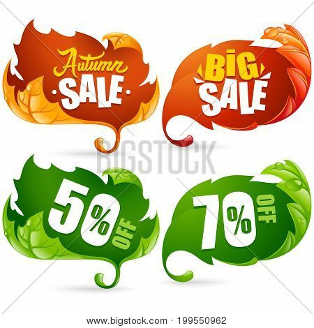 Vector fall leaves frame set. Lettering of Autumn Big Sale Text. Red yellow and green leaf isolated on white background. Use by Discount Sticker Icons or Banners