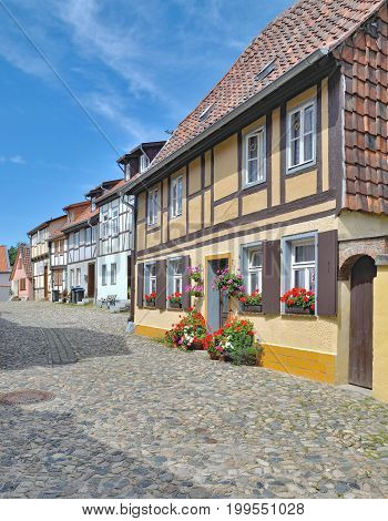 picturesque Old Town of Quedlinburg in Harz called Muenzenberg,Saxony-Anhalt,Germany