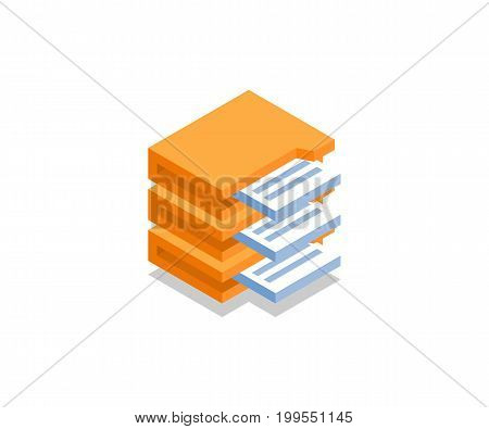 Archive with documents icon illustration vector symbol in flat isometric 3D style isolated on white background.