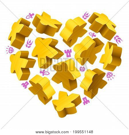 Vector game pieces in the shape of heart. Yellow wooden meeples and resources counter icons isolated on white background. Concept of love by board games