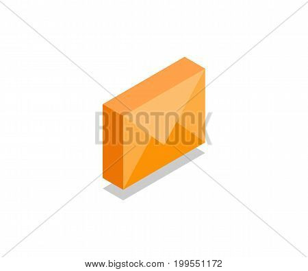Envelope message icon illustration vector symbol in flat isometric 3D style isolated on white background.