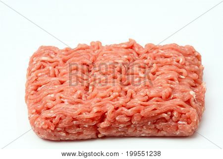 Raw minced pork meat on white background