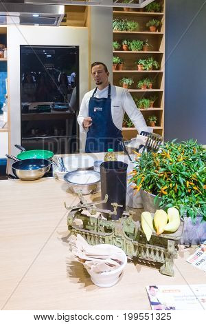 BERLIN - SEPTEMBER 04 2015: Stand of company Beko. Master class from the chef. International radio exhibition Berlin (IFA2015).