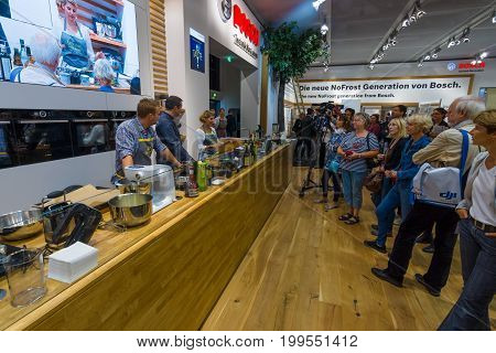 BERLIN - SEPTEMBER 04 2015: Stand of company Bosch. Master class from the chef. International radio exhibition Berlin (IFA2015).
