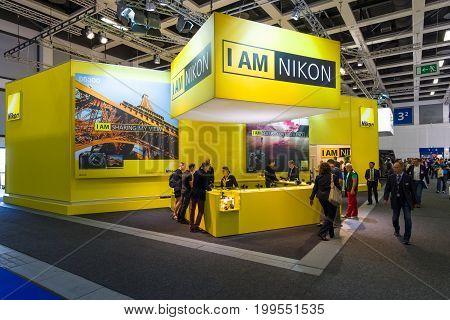 BERLIN - SEPTEMBER 04 2015: Stand of Nikon. International radio exhibition Berlin (IFA2015).