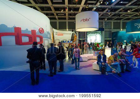BERLIN - SEPTEMBER 04 2015: Pavilion of the German TV company RBB. International radio exhibition Berlin (IFA2015).