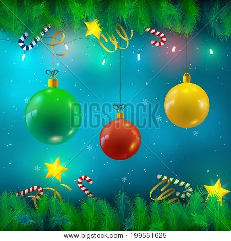 Festive Bright Background with Christsmas baubles fir twigs ribbons candies stars lights and falling snow vector Illustration