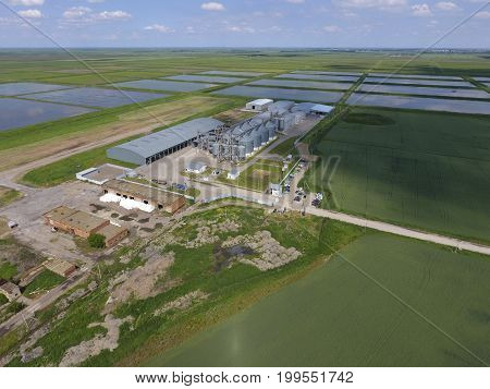 Plant For The Drying And Storage Of Grain. Top View. Grain Terminal.