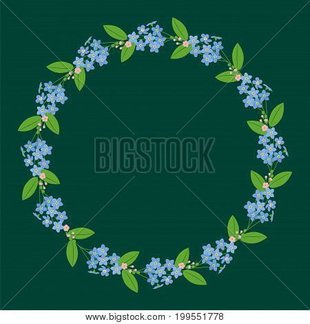Myosotis forget-me-nots floral plant decor border wreath dark save the date celebration greeting