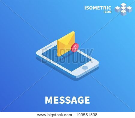 Envelope message icon illustration vector symbol in flat isometric 3D style isolated on color background.