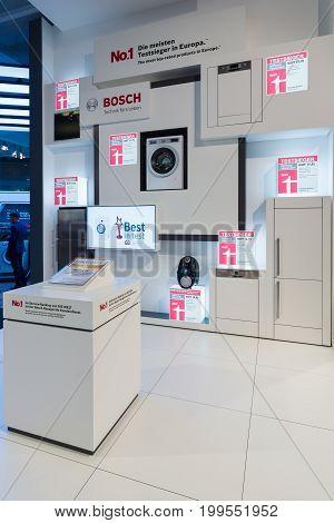 BERLIN - SEPTEMBER 04 2015: Stand by Bosch. International radio exhibition Berlin (IFA2015).