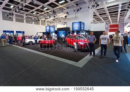 BERLIN - SEPTEMBER 04 2015: Presentation of the new car company Mazda. International radio exhibition Berlin (IFA2015).