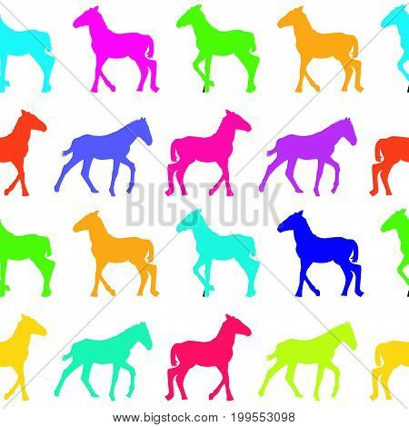 Colorful seamless background with colored foals silhouettes