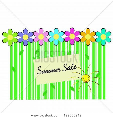 Summer sale background with bar code flowers and sun