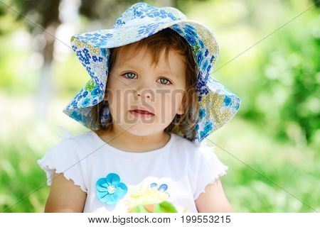 portrait of the cute summer toddler girl