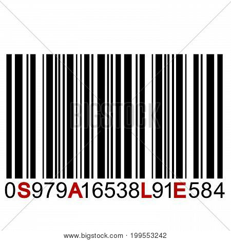 SALE message on barcode on white background