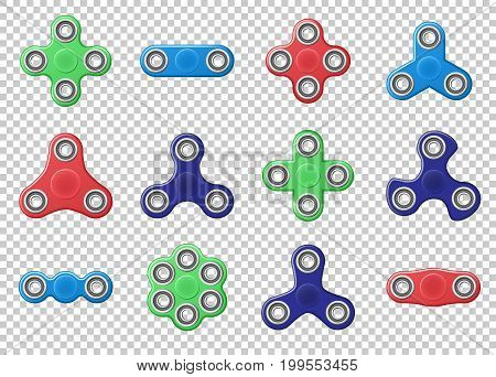 Hand spinner realistic vector illustration EPS 10. Hand spinner tricks isolated on transparent background