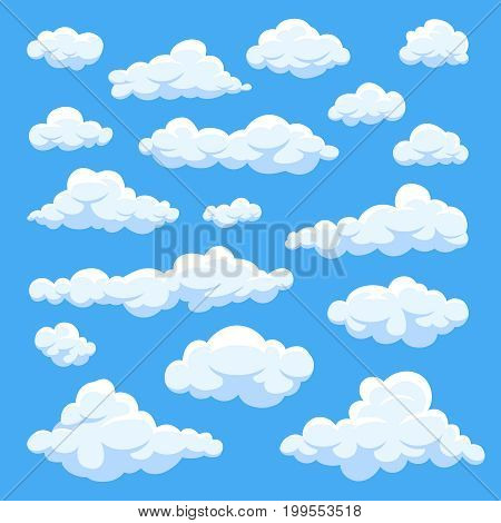 Cartoon clouds isolated on blue sky panorama vector collection. Cloudscape in blue sky, white cloud illustration
