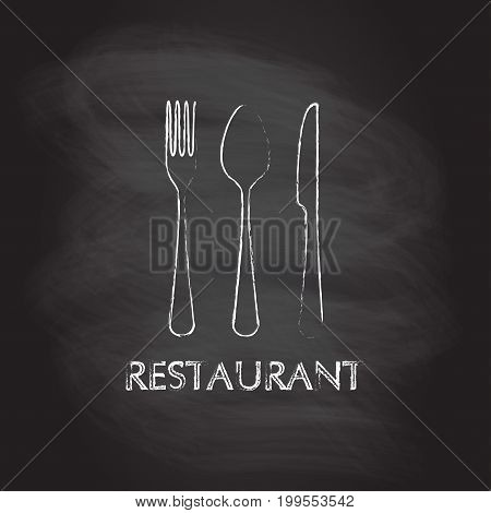Spoon fork and knife flat icons. Restaurant emblem template isolated on blackboard texture with chalk rubbed background. Kitchen utensils. Vector illustration.
