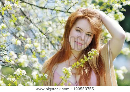 Redhead Woman In Spring