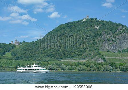 Drachenburg and Drachenfels mountain in Siebengebirge at Rhine River,Rhine Valley,North Rhine Westphalia,Germany