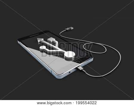 Mobile Phone With Usb Sign On Screen, 3D Illustration